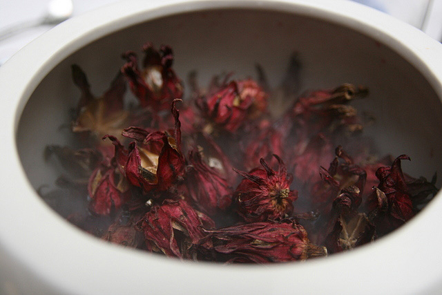 Gorgeous bowl of sweet fragrant dried hibiscus
