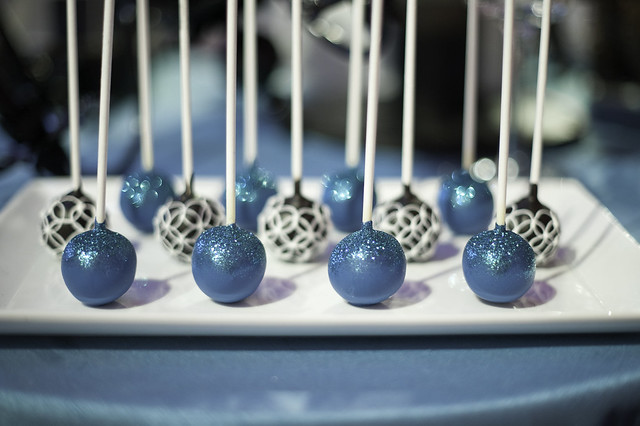Turquoise Glitter and Black and White Cake Pops