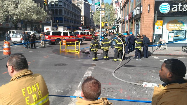 Putting some water on the fire at W 17th and Sixth
