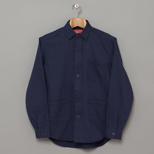 han-kjobenhavn-utility-zip-shirt--blue-herringbone
