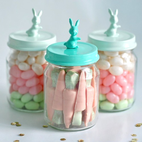 Mini bunny jars filled