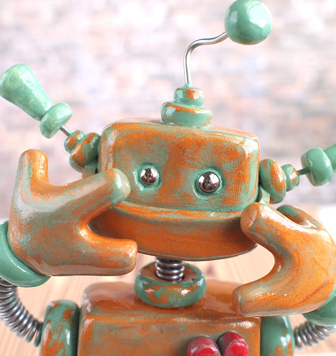 Patina Pete Garden Robot Sculpture by HerArtSheLoves