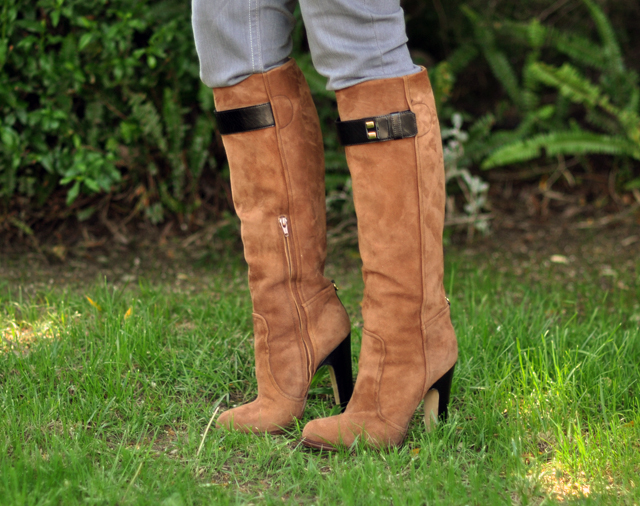 cognac suede knee high boots