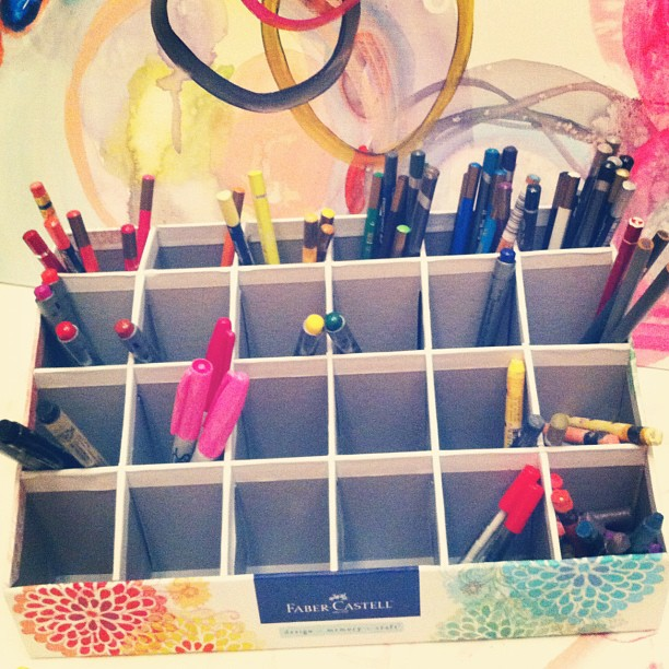 My pens + pencils + crayons are all organized thanks to #fabercastell #artsupplies