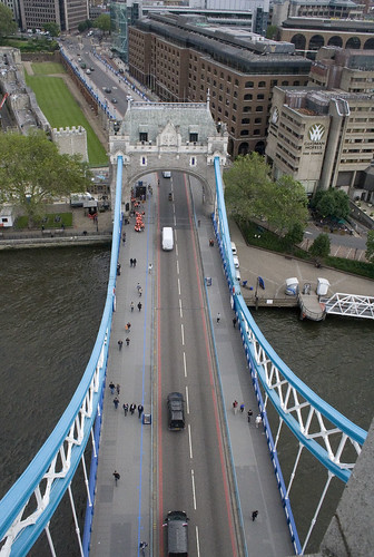 Looking down from the very top of Tower Bridge