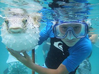 Joseph with a porcupinefish.