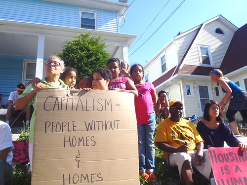 Home defense against Midfirst Bank in support of Joann Manning to stop an eviction took place in Providence, Rhode Island on August 28, 2012. Foreclosures and evictions are rising again through the United States. by Pan-African News Wire File Photos