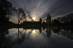 [フリー画像素材] 自然風景, 河川・湖, 樹木, 朝焼け・夕焼け, 風景 - イギリス ID:201207062000