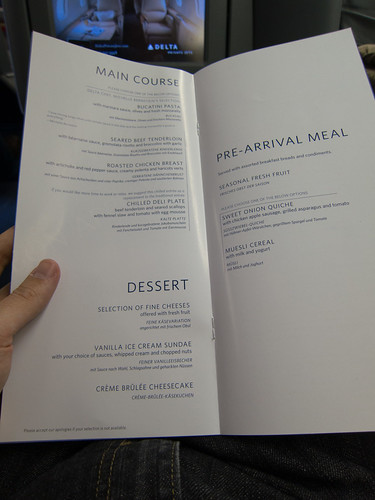 Delta BusinessElite: The menu