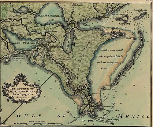Lake Borgne de la Tour map 1720. A beautiful old map of the water around New Orleans that continues to inspire the chefs at Borgne Resaurant today. Image from Wikipedia Commons. This map was published in the US before 1923 and public domain in the US.