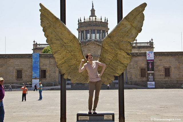 Me with wings outside Hospicio Cabañas, Guadalajara, México
