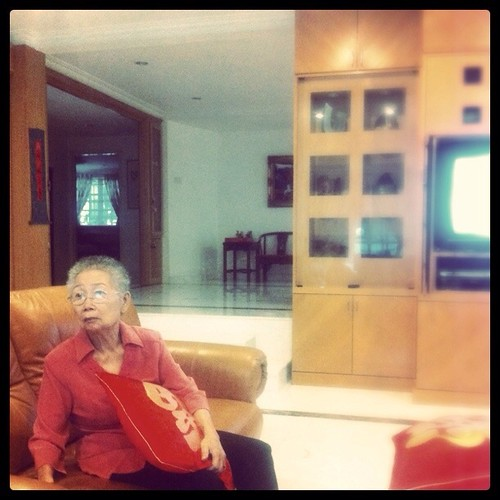 My Grandmother at my living room. March 2011