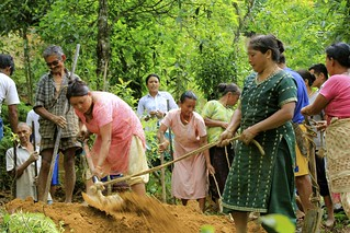 Men and women digging trenches to aid spring recharge in Sikkim