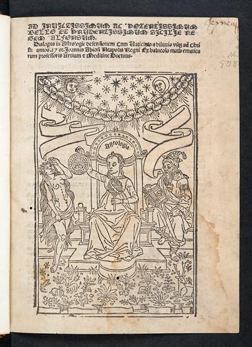 Illustrated title-page of Abiosus, Johannes Baptista: Dialogus in astrologiae defensionem cum vaticinio a diluvio ad annos 1702