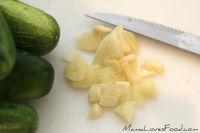 Garlic Dill Refrigerator Pickles - cutting garlic