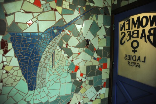 Blue Marlin mural, tiles, inside the ladies bathroom, restroom door reads: Women, Babes, Ladies, Girls, Joe's Crab Shack, Schaumburg, Illinois, USA by Wonderlane
