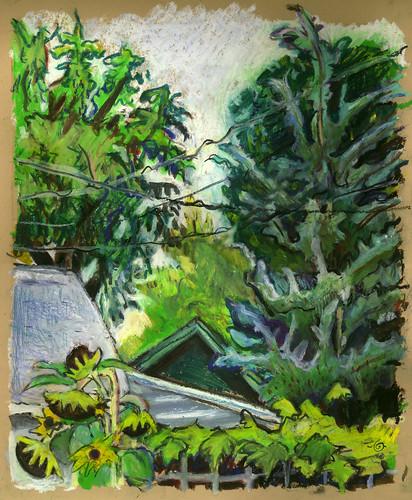 summer backyard brushpen urbanlandscape cedarfallsiowa neocoloriiwatersolublewaxpastels marciamilnerbrage cansonwickercoloredscrapbook