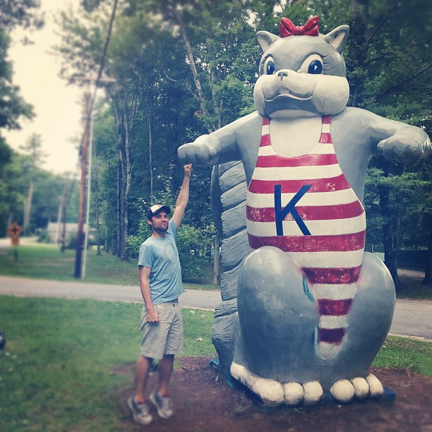 A fist bump with the Kampersville squirrel. @scherling200 #camping #latergram