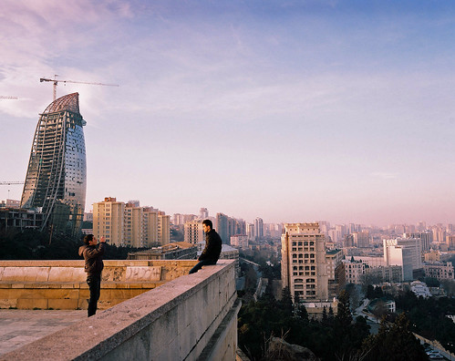 sunset 120 mamiya film skyline analog mediumformat construction baku azerbaijan caucasus analogue 6x7 expired mamiya7