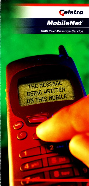 Telstra brochure explaining text messages: page 1