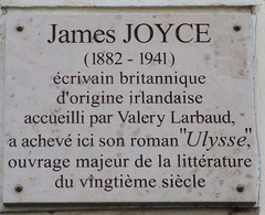Photo of James Joyce and Valery Larbaud marble plaque