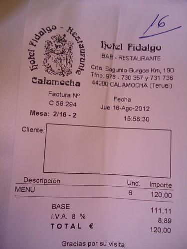 Calamocha (Teruel) | Hotel Fidalgo | Factura