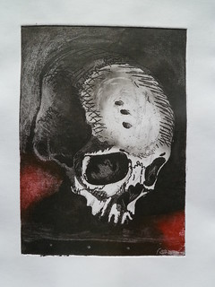 Final print: black, sepia and red