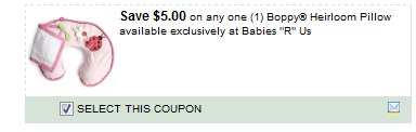 $5.00/1  Boppy Heirloom Pillow Available Exclusively At BabiesRUs Coupon