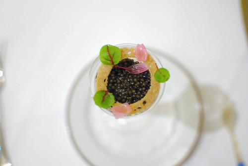 Sterling White Sturgeon Caviar Vidalia onion soubise, Hobbs Shore bacon, rye panna cotta & red ribbon sorrel (Rory Hermann, Bouchon)