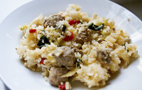 sausage spinach rice bowl