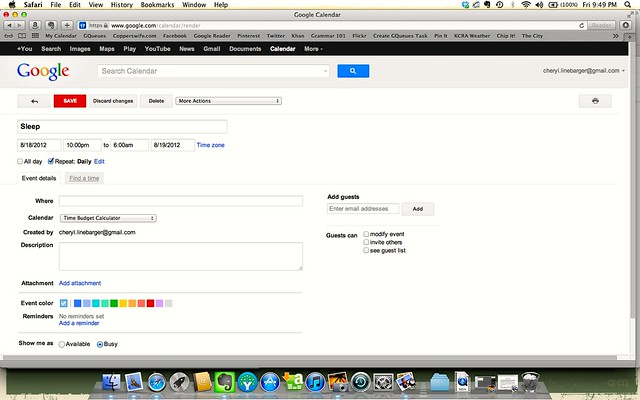 Google Calendar Screen Shot #3