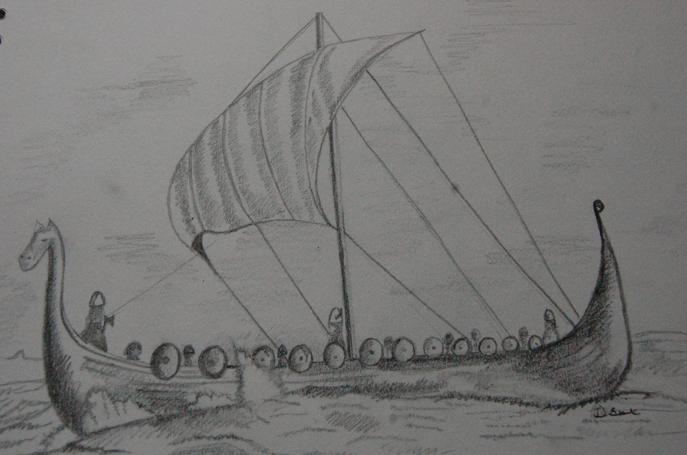 Pencil drawing of viking long boat original illustration for Viking pencils