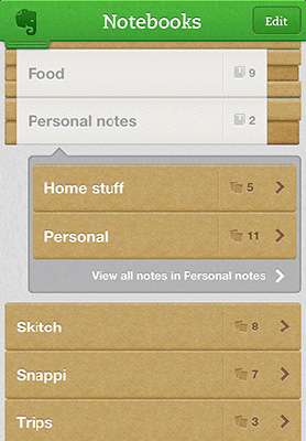 Evernote 5 iOS Notebook