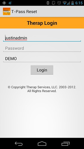 Screenshot of Therap Mobile showing Login