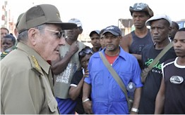 Republic of Cuba President Raul Castro visiting Hurricane Sandy affected areas in Santiago de Cuba. 11 people were killed during the storm. by Pan-African News Wire File Photos