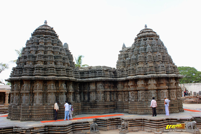 Western (left) and Southern (right) Shikharas (Peaks or Towers) of Keshava Temple, Somanathapura, Mysore district, Karnataka, India