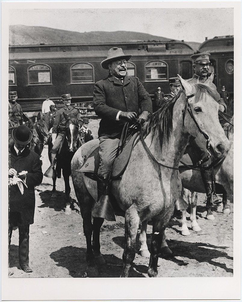 [President Theodore Roosevelt Being Escorted into Yellowstone National Park by Park Superintendent, Major John Pitcher]