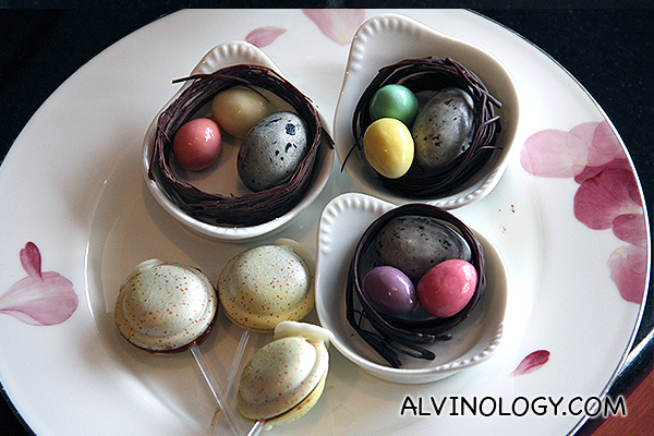 Chocolate eggs and macarons