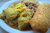 Caribbean Chicken Curry, Rice & Peas, Fried Dumpling