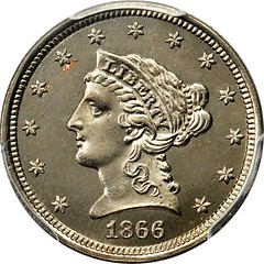 1866 Pattern Liberty Quarter Eagle. Judd-542 obverse