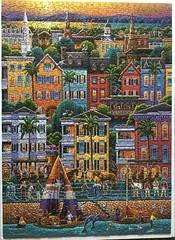 A 1000-piece drawing of Charleston SC.  Un rompecabezas de 1.000 piezas de la ciudad de Charlestón en el estado estadounidense de Carolina del Sur.  Greensboro NC USA, 2016-05-20.