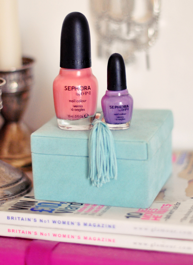 sephora by OPI nail polishes -purple and coral nail colour