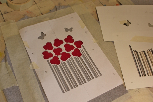 flower bunch - line up  and register stencils