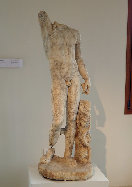 Statue of a young warrior, Cult statue of Dionysos, from the villa of Dionysos, Archaeological Museum, 2nd. c. AD, Dion