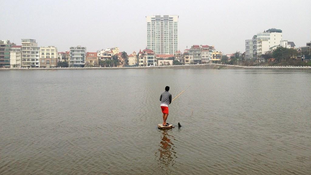 Fishing, West Lake, Hanoi