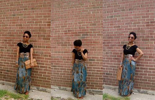 green brown brown maxi with black shirt