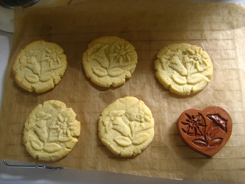 Lemon & cardamom biscuits, with edelweiss stamp