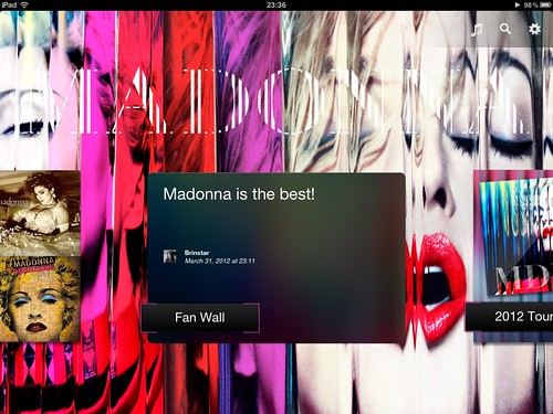 Madonna App for iPad - Fan Wall
