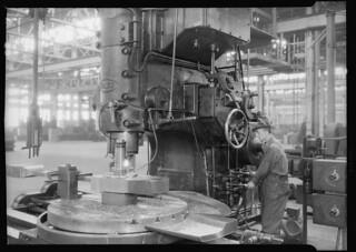 Railroad parts. Baldwin Locomotive Works. Man working at machine, May 1937