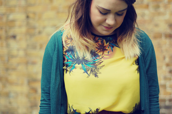 Wardrobeblock : Primark yellow palm tree sheer top Urban Outfitters green cardigan